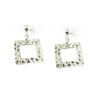 Handmade Sterling Silver Hammered Square Dangle Earrings (Mexico)