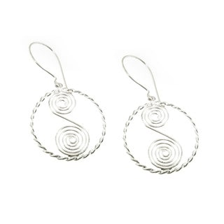 Handmade Sterling Silver S Spiral Dangle Earrings (Mexico)