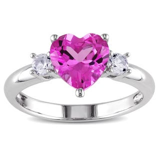 Miadora Sterling Silver Created Pink and White Sapphire Heart Ring
