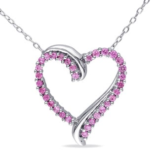Miadora Sterling Silver Created Pink Sapphire Heart Necklace