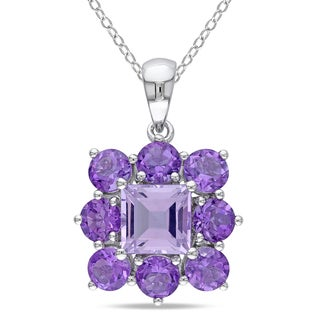 Miadora Sterling Silver 3 7/8ct TGW Rose de France and Amethyst Necklace
