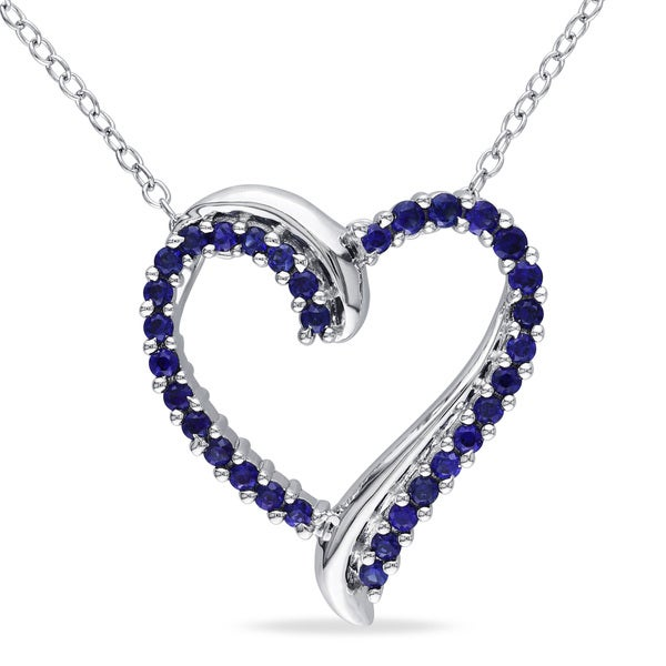 Miadora Sterling Silver Created Blue Sapphire Heart Necklace