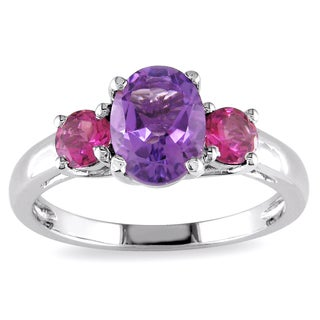 Miadora Sterling Silver 1 2/5ct TGW Amethyst and Pink Tourmaline Ring