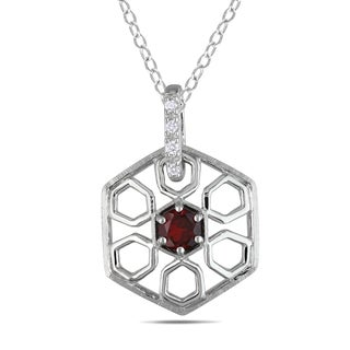Miadora Sterling Silver Garnet and Diamond Accent Necklace