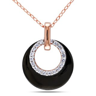 Miadora Rose Plated Silver Created White Sapphire Necklace
