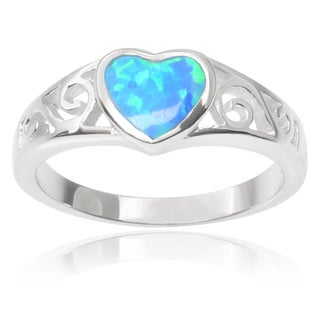 Journee Collection Sterling Silver Faux Opal Heart Ring