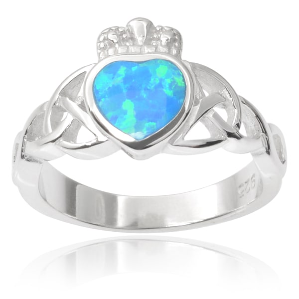 Journee Collection Sterling Silver Faux Opal Celtic Ring
