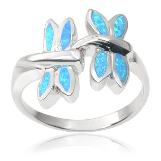 Journee Collection Sterling Silver Gemstone Dragonfly Ring