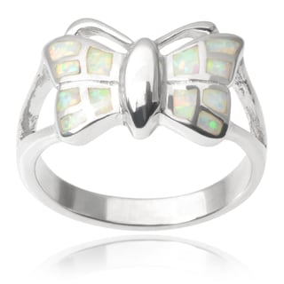 Journee Collection Sterling Silver Faux Opal Butterfly Ring