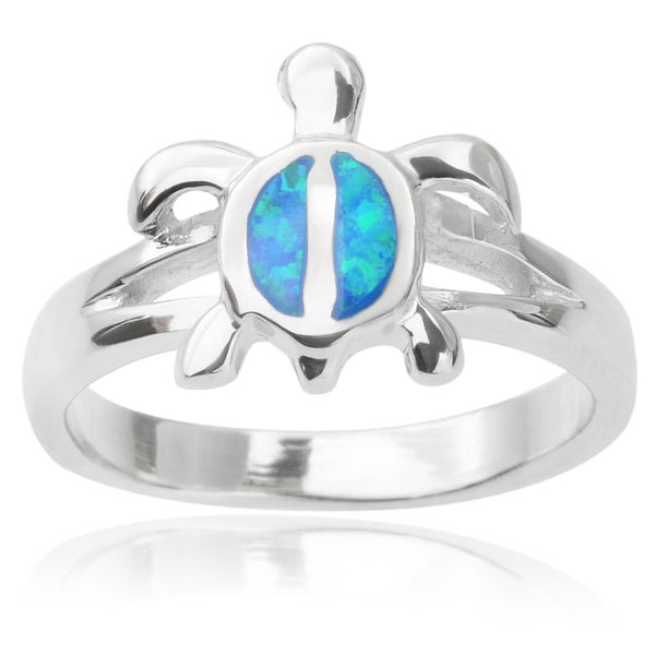 Journee Collection Sterling Silver Faux Opal Turtle Ring