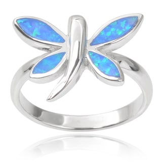 Journee Collection Sterling Silver Faux Opal Dragonfly Ring