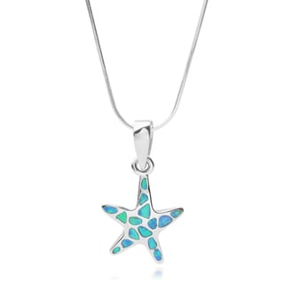 Journee Collection Sterling Silver Opal Starfish Pendant