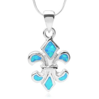 Journee Collection Sterling Silver Faux Opal Fleur-de-lis Pendant