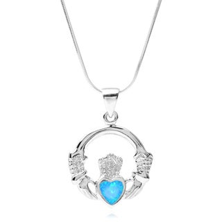 Journee Collection Sterling Silver Gemstone Claddagh Pendant