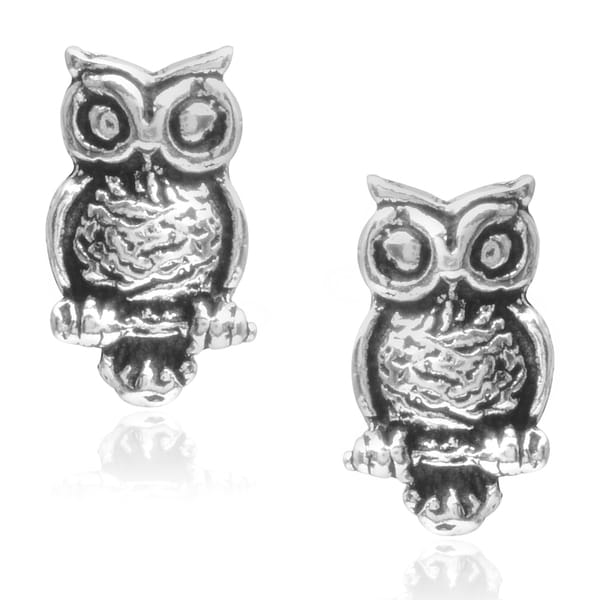 Journee Collection Sterling Silver Owl Stud Earrings