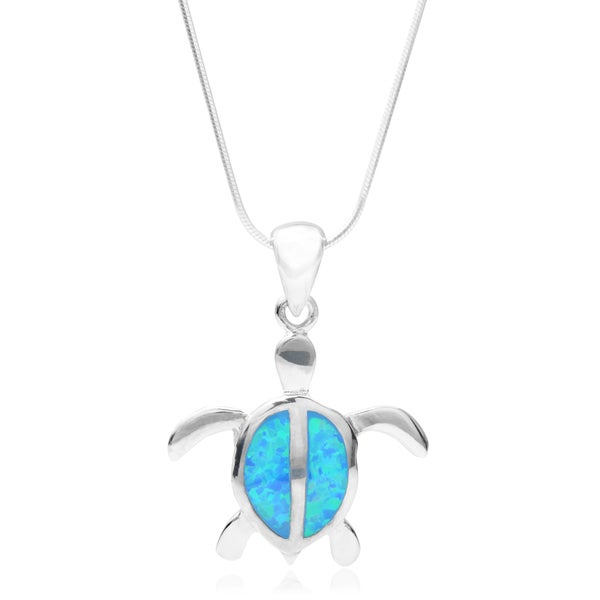 Journee Collection Sterling Silver Faux Opal Turtle Pendant