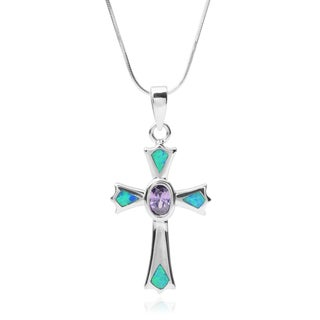Journee Collection Sterling Silver Cubic Zirconia Gemstone Cross Pendant