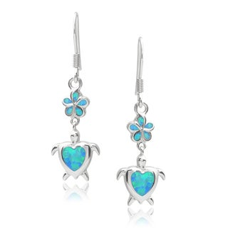 Journee Collection Sterling Silver Gemstone Turtle Drop Earrings