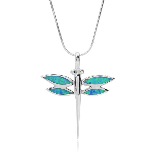 Journee Collection Sterling Silver Gemstone Dragonfly Pendant