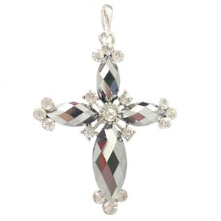 Hematite Crystal and Rhinestone Cross Pendant