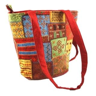 Fair Trade Multi-colored Needlework Shoulder Bag (India)