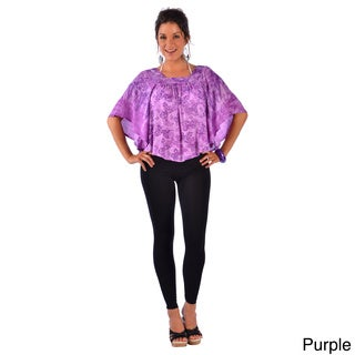 1 World Sarongs Women's Handmade Wide-sleeve Cover-up Top (Indonesia)