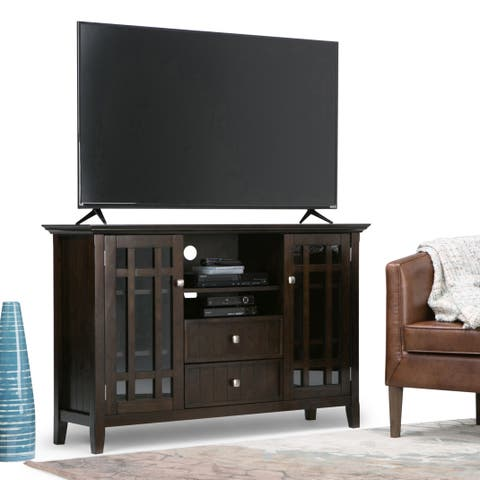 WYNDENHALL Freemont Solid Wood 53 inch Wide Rustic TV Media Stand in Dark Tobacco Brown For TVs up to 55 inches