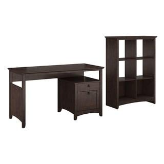 buena vista madison cherry home office desk with 6 cube bookcase