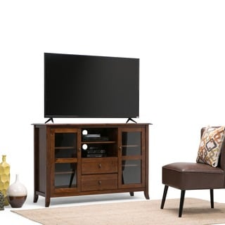 WYNDENHALL Collins Mahogany Brown Tall TV Stand For TVu0027s Up To 60 Inches