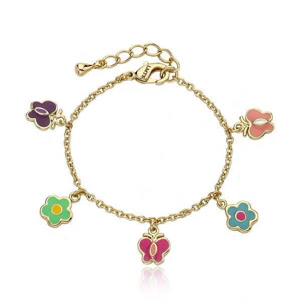 Little Miss Twin Stars 14k Goldplated Enamel Butterfly Charm Bracelet