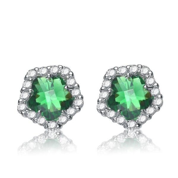 Collette Z Sterling Silver Green Cubic Zirconia Flower-shape Earrings