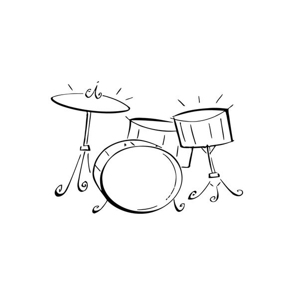 Drum Set Music Tools Sticker Vinyl Wall Art