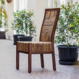 International Caravan 'Dallas' Woven Abaca Dining Chairs with Mahogany Hardwood Trim and Frame (Set of 2)