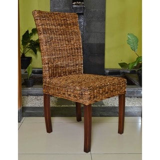 International Caravan 'Jasmine' Woven Abaca Dining Chairs with Mahogany Hardwood Frame (Set of 2)