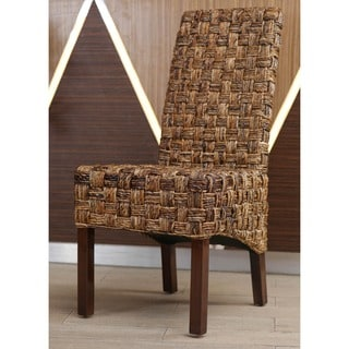 International Caravan 'Victor' Woven Abaca Dining Chairs with Mahogany Hardwood Frame (Set of 2)