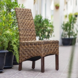 caravan woven abaca rattan wicker dining chairs with mahogany hardwood frame