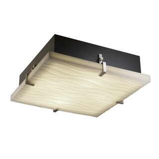 Justice Design Group Porcelina Clips 2-light Brushed Nickel Flush Mount, Square Waves Shade