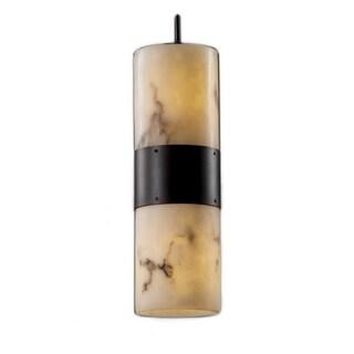 Justice Design Group LumenAria 2-light Faux Alabaster Resin Flat Rim Shade Pendant