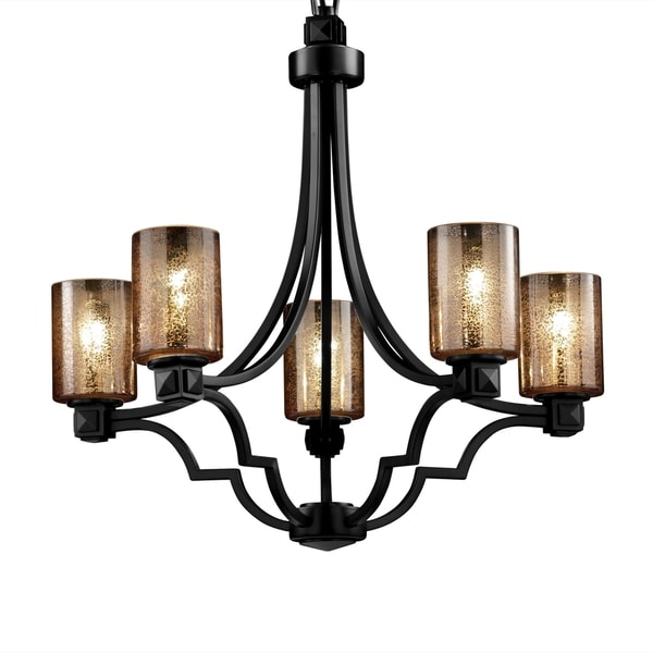 justice design group fusion 5 light mercury with matte black chandelier black chandelier lighting photo 5