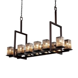 Justice Design Group Fusion Montana 12-up and 5-downlight Dark Bronze Chandelier, Tall Mercury Square - Flat Rim Shade