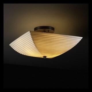 Justice Design Group Porcelina 2-light Dark Bronze Square Bowl Semi-flush, Sawtooth Shade