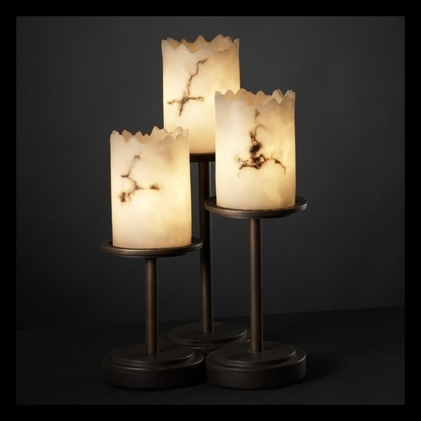 Justice Design Group LumenAria Dakota 3-light Dark Bronze Table Lamp, Faux Alabaster Cylinder - Broken Rim Shade