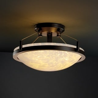 Justice Design Group Fusion 2-light Droplet with Ring Dark Bronze Semi-flush