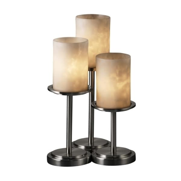 Justice Design Group Clouds Dakota 3-light Brushed Nickel Table Lamp, Clouds Cylinder - Flat Rim Shade
