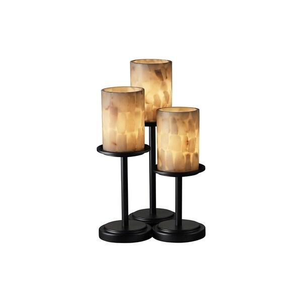 Justice Design Group Alabaster Rocks Dakota 3-light Matte Black Table Lamp, Cylinder - Flat Rim Shade