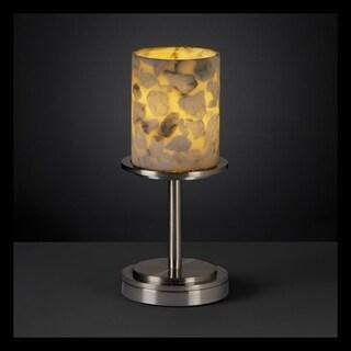 Justice Design Group Alabaster Rocks Dakota 1-light Brushed Nickel Short Table Lamp, Cylinder - Flat Rim Shade