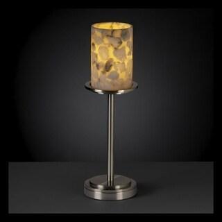 Justice Design Group Alabaster Rocks Dakota 1-light Brushed Nickel Tall Table Lamp, Cylinder - Flat Rim Shade