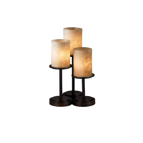 Justice Design Group Clouds Dakota 3-light Dark Bronze Table Lamp, Clouds Cylinder - Flat Rim Shade