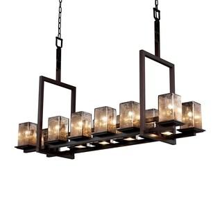 Justice Design Group Fusion Montana 12-up and 5-downlight Dark Bronze Chandelier, Short Mercury Square - Flat Rim Shade