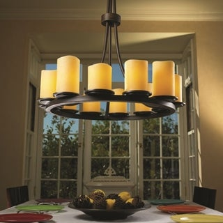 Justice Design Group CandleAria Dakota 12-light Dark Bronze Chandelier, Amber Cylinder - Melted Rim Shade